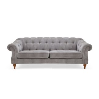 An Image of Aubrey Chesterfield 3 Seater Sofa Grey
