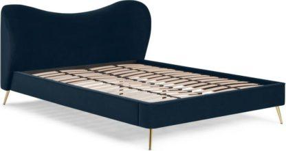 An Image of Kooper King Size Bed, Sapphire Blue Velvet