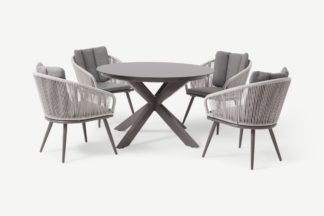 An Image of Bahari 4 Seat Round Garden Dining Set, Grey & Natural White