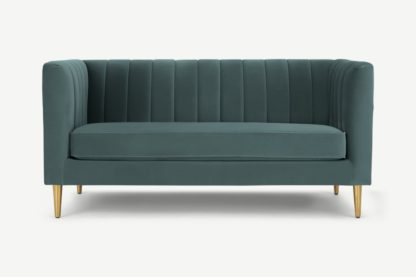 An Image of Amicie 2 Seater Sofa, Marine Green Velvet