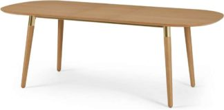An Image of Edelweiss 6-8 Seat Oval Extending Dining Table, Oak and Brass