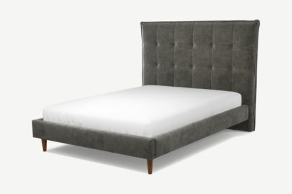 An Image of Custom MADE Lamas Double Bed, Steel Grey Velvet with Walnut Stained Oak Legs