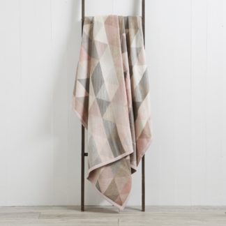 An Image of Thermosoft Pink Geo 220cm x 240cm Blanket Pink, Grey and White