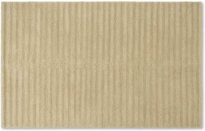 An Image of Naylor Textured Wool Rug, Large 160 x 230cm, Ecru Stripe