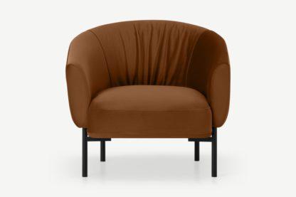 An Image of Melrose Accent Armchair, Cinnamon Velvet