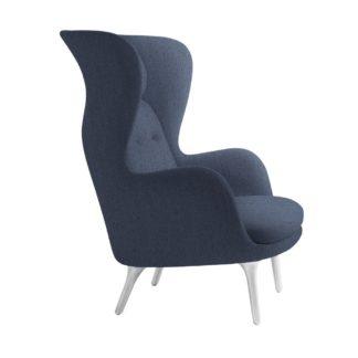 An Image of Fritz Hansen Ro Easy Chair Dark Blue Fabric Aluminium Legs
