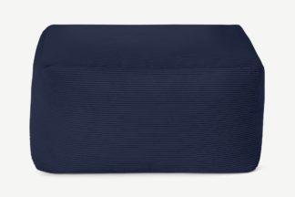 An Image of Loa Square Floor Pouffe Floor Cushion, Navy Cord Velvet