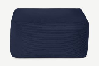 An Image of Loa Square Floor Pouffe, Navy Cord Velvet