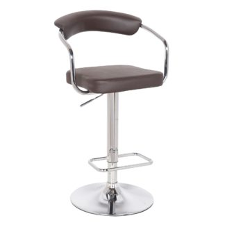 An Image of Houston Bar Stool Brown PU Leather Brown