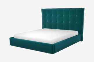An Image of Custom MADE Lamas Super King Size Bed with Ottoman, Tuscan Teal Velvet