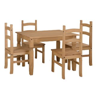 An Image of Corona Small Rectangular Table Dining Set Natural