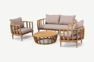 An Image of Aleksy Lounge Set, Acacia Wood & Natural White