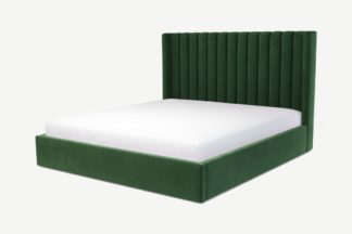 An Image of Custom MADE Cory Super King Size Bed with Lift Up Ottoman Storage, Lichen Green Cotton Velvet