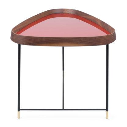 An Image of Porada Fritz 3 Triangular Side Table Walnut Granata Red Gloss Lacquer