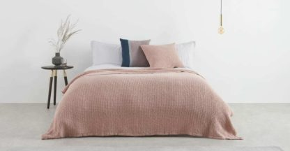An Image of Grove 100% Cotton Stonewashed Waffle Bedspread,150 x 200cm, Dusky Pink