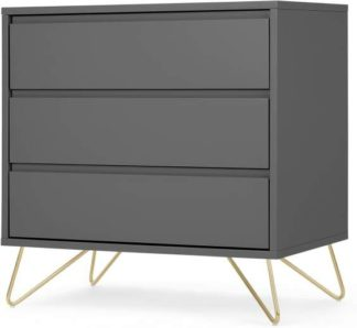 An Image of Elona Compact Chest of Drawers, Charcoal & Brass