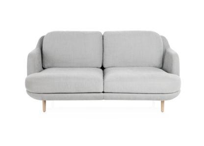 An Image of Fritz Hansen Lune 2 Seater Sofa Linara Eucalypytus Oak Legs