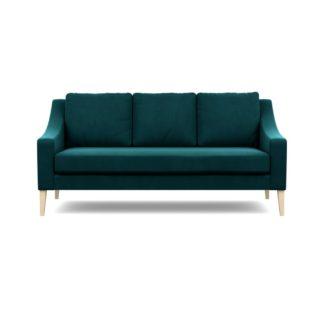 An Image of Heal's Richmond 3 Seater Sofa Smart Velvet Teal Walnut Feet