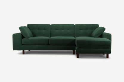 An Image of Content by Terence Conran Tobias, Right Hand facing Chaise End Sofa, Plush Hunter Green Velvet, Dark Wood Leg