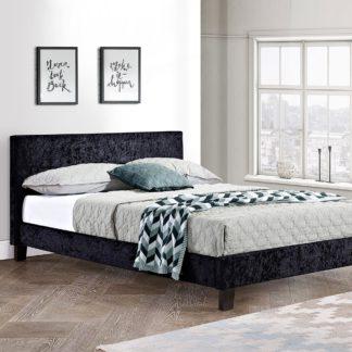 An Image of Berlin Crushed Velvet Bed Frame Black