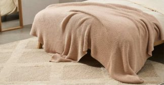 An Image of Brawley 100% Cotton Knitted Throw, 130 x 170cm, Hazelnut