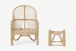 An Image of Jalu Accent Armchair and Footstool, Cane