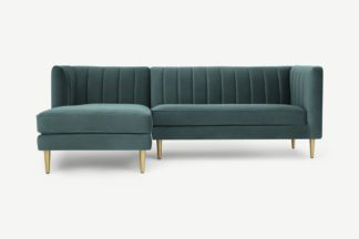 An Image of Amicie Left Hand Facing Chaise End Corner Sofa, Marine Green Velvet