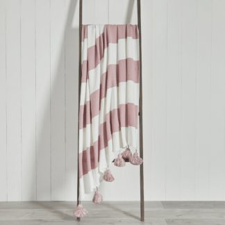 An Image of Lucas Stripe 150cm x 200cm Throw Pink and White