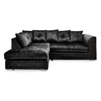 An Image of Blake Crushed Velvet Left Hand Corner Sofa Black