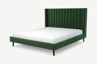 An Image of Custom MADE Cory Super King Size Bed, Lichen Green Cotton Velvet with Black Stained Oak Legs