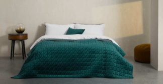 An Image of Julius Quilted Velvet Bedspread, 225x220cm, Teal Blue