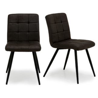 An Image of Porter Set of 2 Dining Chairs Grey Microsuede Grey