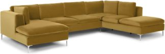 An Image of Monterosso Right Hand Facing Corner Sofa, Mustard Velvet