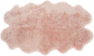 An Image of Helgar Quad Sheepskin Rug 105 x 170cm, Dusky Pink