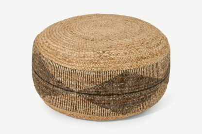 An Image of Camden Pouffe, Natural Jute with Black Print