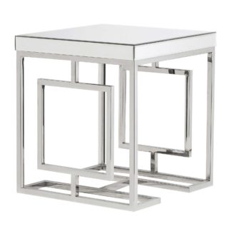 An Image of Mirrored Side Table, Silver