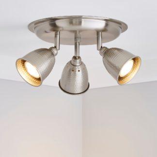 An Image of Filbert 3 Light Hammered Chrome Spotlight Satin Nickel