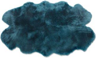 An Image of Helgar Quad Sheepskin Rug 105 x 170cm, Dark Teal