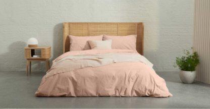 An Image of Zana Organic Cotton Stonewashed Duvet Cover + 2 Pillowcases, Double, Plaster Pink UK