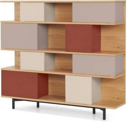 An Image of Fowler Large Shelving Unit, Oak & Warm Red