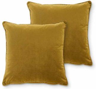 An Image of Julius Set of 2 Velvet Cushions, 45 x 45cm, Antique Gold