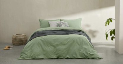 An Image of Alexia 100% Stonewashed Cotton Duvet Cover + 2 Pillowcases, King, Soft Green UK