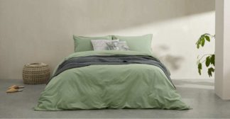 An Image of Alexia 100% Stonewashed Cotton Duvet Cover + 2 Pillowcases, Double, Soft Green UK