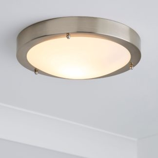 An Image of Pluto 1 Light Frosted Glass Flush Ceiling Fitting Silver
