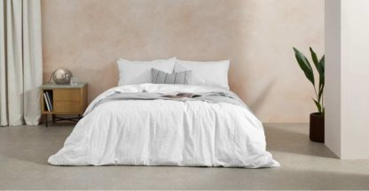 An Image of Furano Cotton Duvet Cover + 2 Pillowcases, Double, White UK