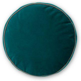 An Image of Julius Round Velvet Cushion, 45cm diam, Teal Blue