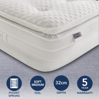An Image of Silentnight 2000 Pocket Geltex Pillowtop Mattress White