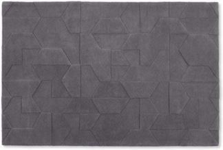 An Image of Hayden Geometric Carved Wool Rug, Large 160 x 230cm, Grey