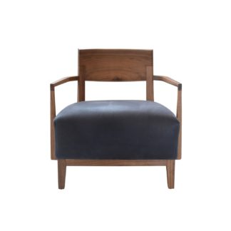 An Image of Riva 1920 Wilma Braccioli Armchair Walnut Black Utah Leather