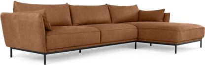An Image of Odelle Right Hand Facing Chaise End Corner Sofa,Texas Tan Leather